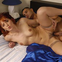 Judith MILF and young hardcore fishnets redhead mature hairy blue bed