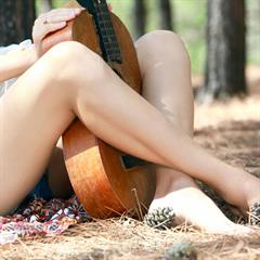 Erica B Sara jeans shorts definebabes jean long hair brunette met-art guitar forest