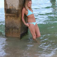 ocean lucysummers blue bikini barefoot nonnude outdoor blonde shower tanned