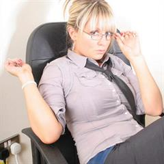 InBedWithAshley black stockings sterlingcash secretary glasses necktie office nylons curvy