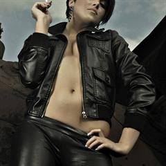 leather jacket pants actiongirls black hair short lorandpeli locomotive transport blackhair topless
