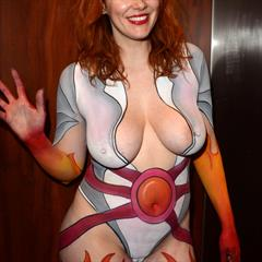 celebrity-slips Maitland Ward bodypainting redhead shaved busty solo