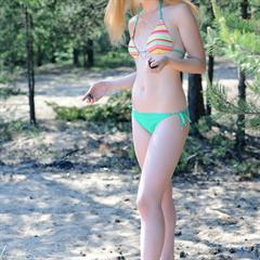Avril A Kisa nudist-in-public outdoor flaxen forest public young outside