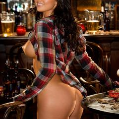 Kelley Thompson centerfold-babes fireplace cowgirl liqueur playboy bar hat