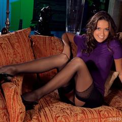 Sammie Pennington prestigeonlytease stocking-tease stockings OnlyTease ugly sofa brunette garter nylons solo