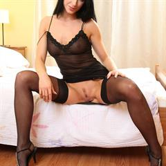 Anna A black lingerie art-lingerie stockings brunette trimmed garter myass solo
