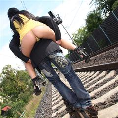 Lucy Bell railway track MySexyKittens train payserve hardcore outdoor facial anal cum