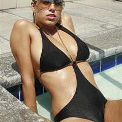 Janine Habeck black swimsuit bathing suit perfect body imagefap brunette gorgeous clothed bikini busty