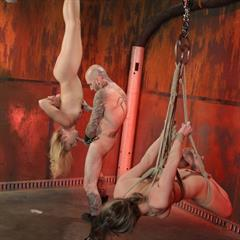 fucking machine fuckingdungeon upside down ball gag gagged tattoo BDSM tied