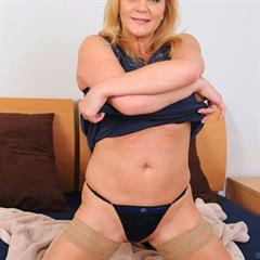 Ginger Lynn blue lingerie dress stockings anilos mature mirror nylons thong bed