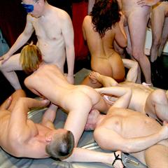 gangbang-arena pierced tongue hardcore bukkake shaved group cum on face piercing facial