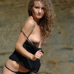 Juanita A Julianna eroticbeauties black lingerie curly hair brunette Ivana E outdoor Zemani