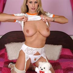 Adele Stephens Stevens FreeOnes panties white stockings lingerie shirt plump pussy trimmed