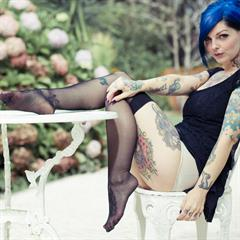 Riae suicidegirlssets pierced nipples suicide girls SuicideGirls blue hair tattoo colored piercing