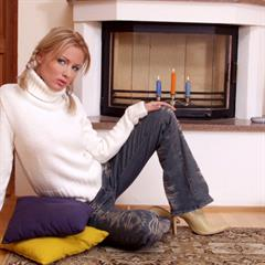 Jordan Maze red lingerie plump pussy fireplace sexworld pigtails sweater trimmed blonde