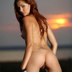 Alessandra black dress MPLstudios stockings long hair kladblog twilight outdoor redhead stunner