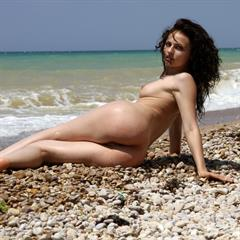 Alena Zurova black bikini hair curly just-nude imgher beach brunette garment outside