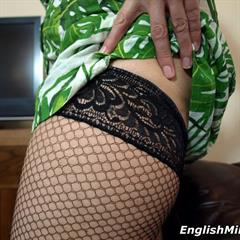 Daniella English english-milf EnglishMilf green dress ugly sofa minidress fishnets upskirt mature MILF