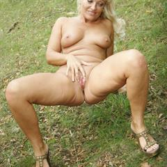 outdoor-mature outdoor blowjob mature blonde public MILF FMM outside