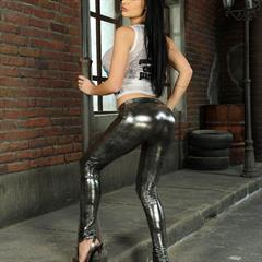 Aletta Ocean landing strip 21sextury dark hair fake face leggings silicone makeup shiny pants