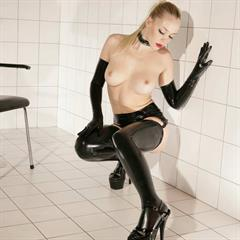 Annette Schwartz platform high heels amsterdamrubber black gloves ponytail fetish rubber blonde