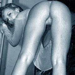 Renata Daninsky black and white bigboobsphotos poledancing czech girl wet shirt outdoor trimmed shower shaved