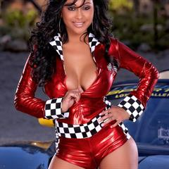 Priya Anjali Rai Holly Randall nice brown tits sports car sportscar red dress minidress pornstar earrings