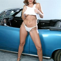 Dylan Dole Sasha Karr Victoria convertible plump pussy white dress muscle car minidress anilos mature
