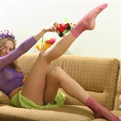 purple fishnet socks pink top ugly sofa 8teenies Camile18 topless Camile thong