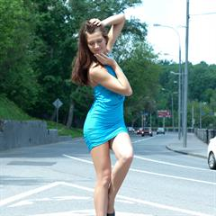 Kira Joy J C totally shaved brainparking blue dress bottomless minidress met-art outdoor