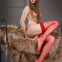 Victoriya A very long hair quintessential red stockings metartgirlz brown eyes brunette hairy garment