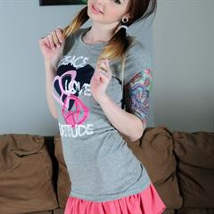 Ivy Snow pigtails tattooed ivysnow redhead t-shirt tattoo shaved busty skirt