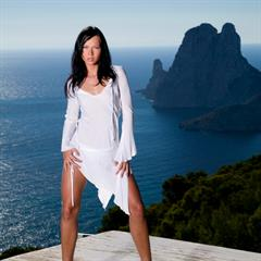 Susie Diamond white dress private-com black hair long pink toes hardcore sea view brunette private