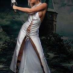 Nelly Atenzo princess A sinfulgoddesses white dress blue eyes medieval goddess costume fantasy