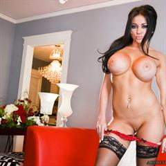 Audrey Bitoni black stockings panties down premiumpass fake boobs tits implants big silicone