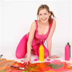 Abigaile Johnson bodypainting spunkybee blonde paint babe teen Play cute