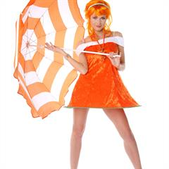 virtuagirlhd orange wig umbrella shaved babe