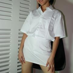 white shirt asianagogo open pigtails shaved asian