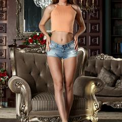 Mary Kalisy Britney Y Mandy eroticbeauties denim shorts brunette Cut offs petite shaved