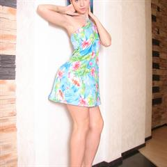 porcodollars floral dress green eyes perky tits minidress brunette topless shaved teen