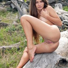 Konstansija Milena D very long hair splendiferous fromm behind MPLstudios legs brunette outdoors