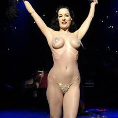 Dita von Teese feather fans burlesque brunette carousel nonnude pasties actress busty
