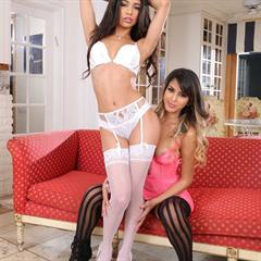 Veronica Rodriguez Sophia Leone take your pick white lingerie pornparadize pussy stack stockings barelist hardcore brunette