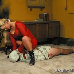 Phoenix Marie high heels bdsm-list red dress pegging strapon blonde boots curvy