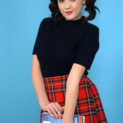 Jodie Gasson monocolor background cyan red plaid skirt white socks schoolgirl pinupwow pigtails nonnude