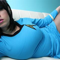 Kayla Kiss Star Trek erocurves BTK boots pantyhose fake tits brunette big cosplay uniform