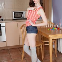 Sonia denim shorts showybeauty girlstop brunette freckles kitchen shaved busty meaty