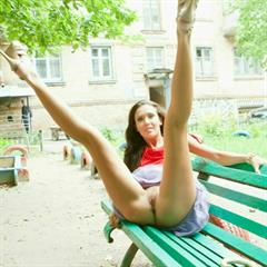 Malvina Mary C Manu E bottomless black toes pokazuha brunette outdoor public bench