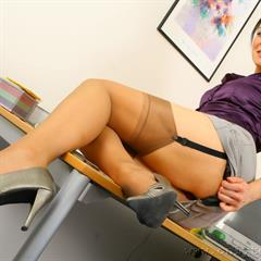 Naomi F stocking-tease red lingerie violet dress stockings OnlyTease secretary computer tattoo