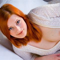 plump pussy simonscans open blue eyes tits out redhead sweater shaved dildo smile